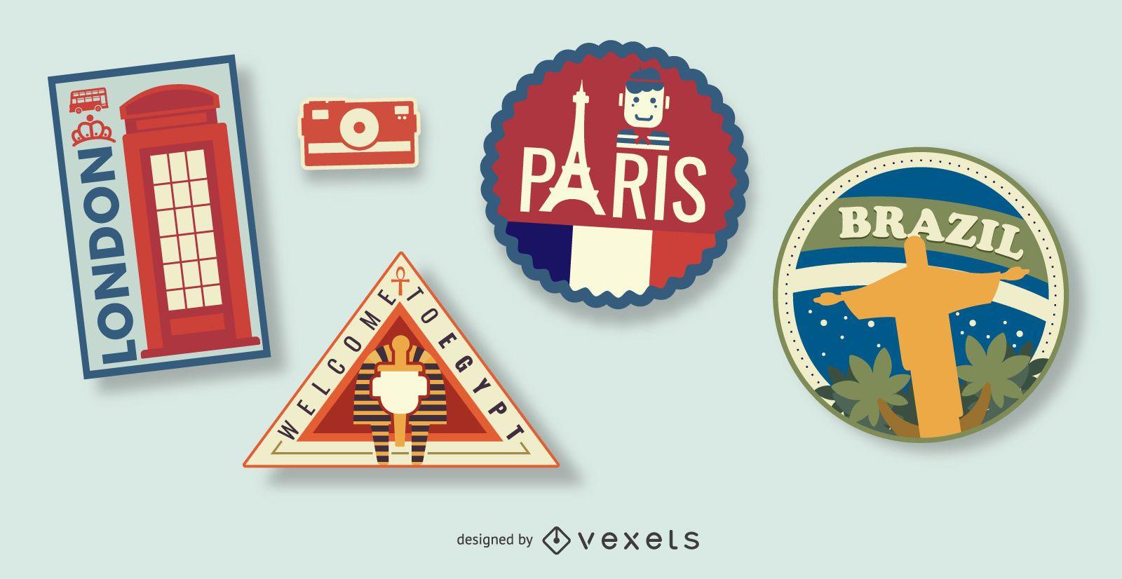 Illustrated travel stamps set