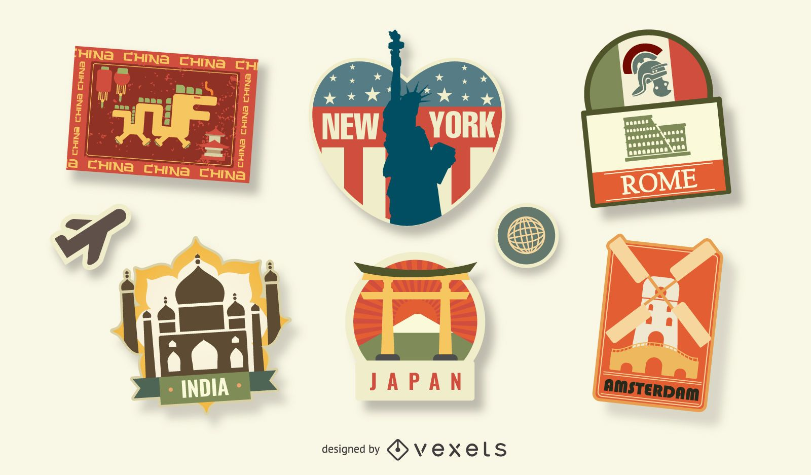 Conjunto de sellos de viajes mundiales