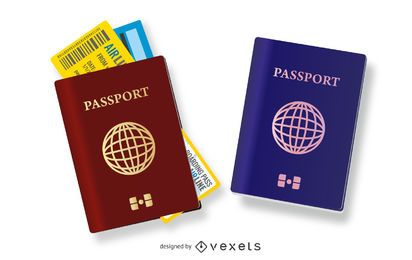 Conjunto de ilustración de pasaportes de viaje