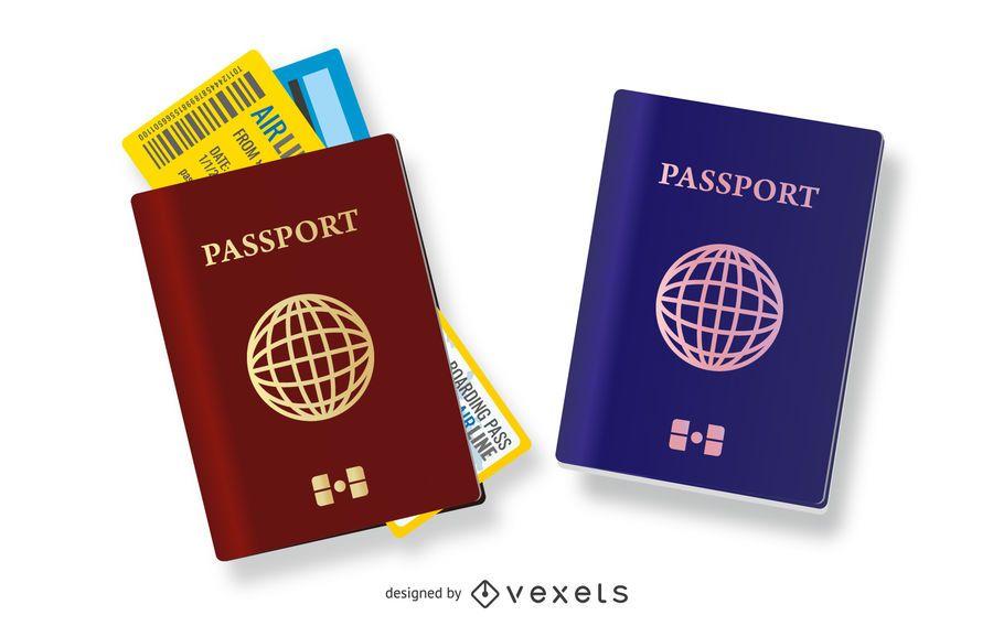 Conjunto de ilustração de passaportes de viagem