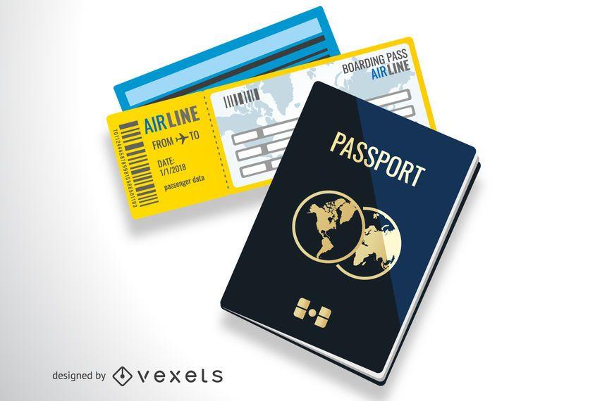 Ilustración de documentos de viaje
