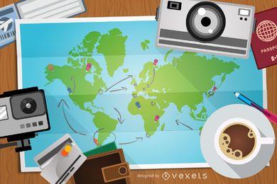 Ilustración de viaje con mapa y elementos