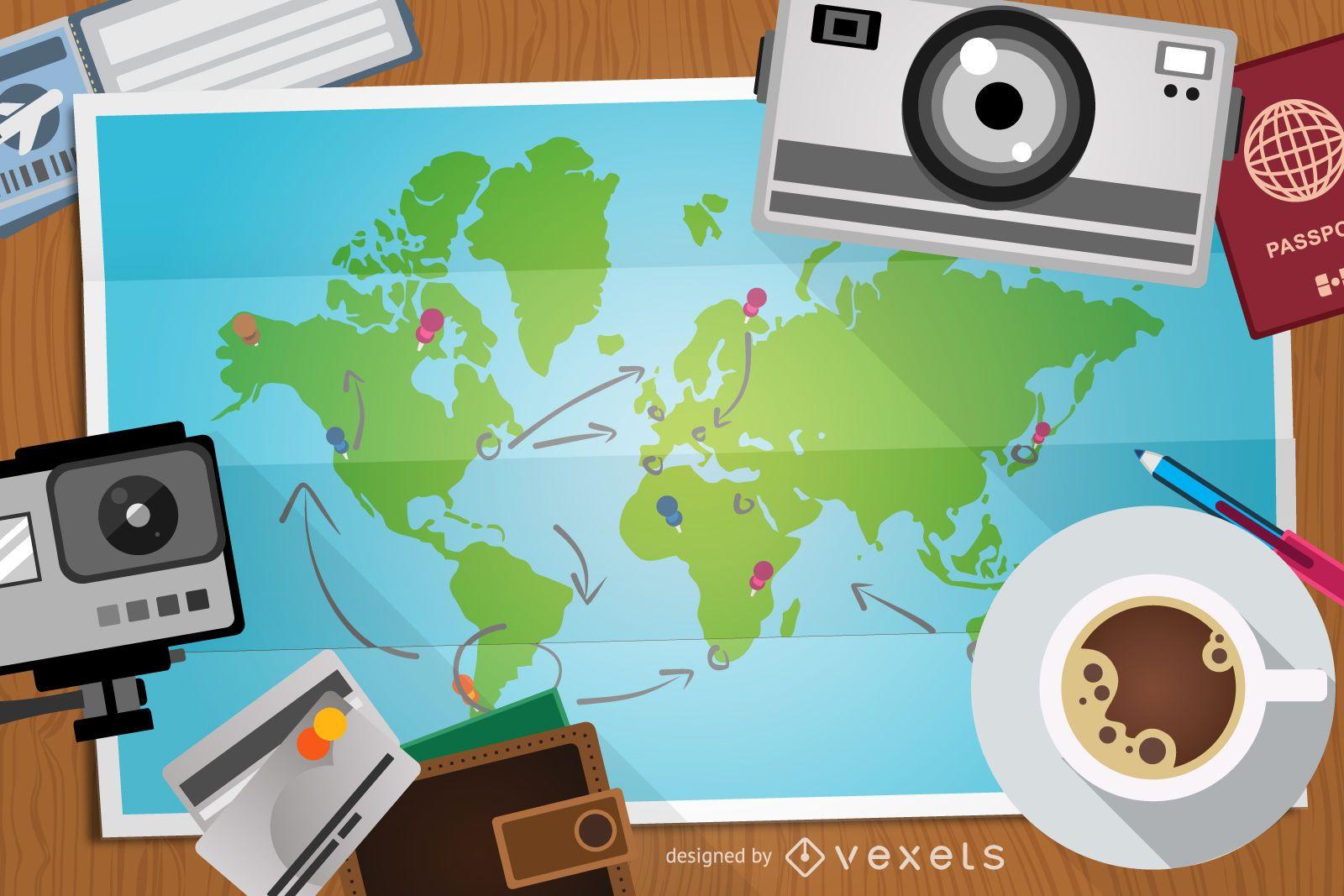 Ilustración de viaje con mapa y elementos.