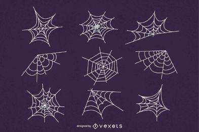 Spider web illustration set