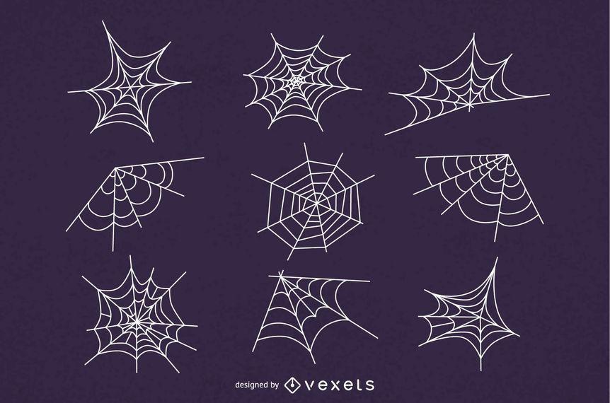 Conjunto de ilustração de teia de aranha