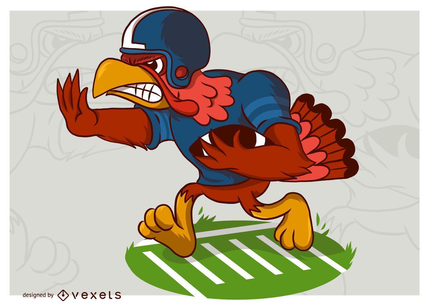 Thanksgiving Turkey Football Player Cartoon Vector Illustration