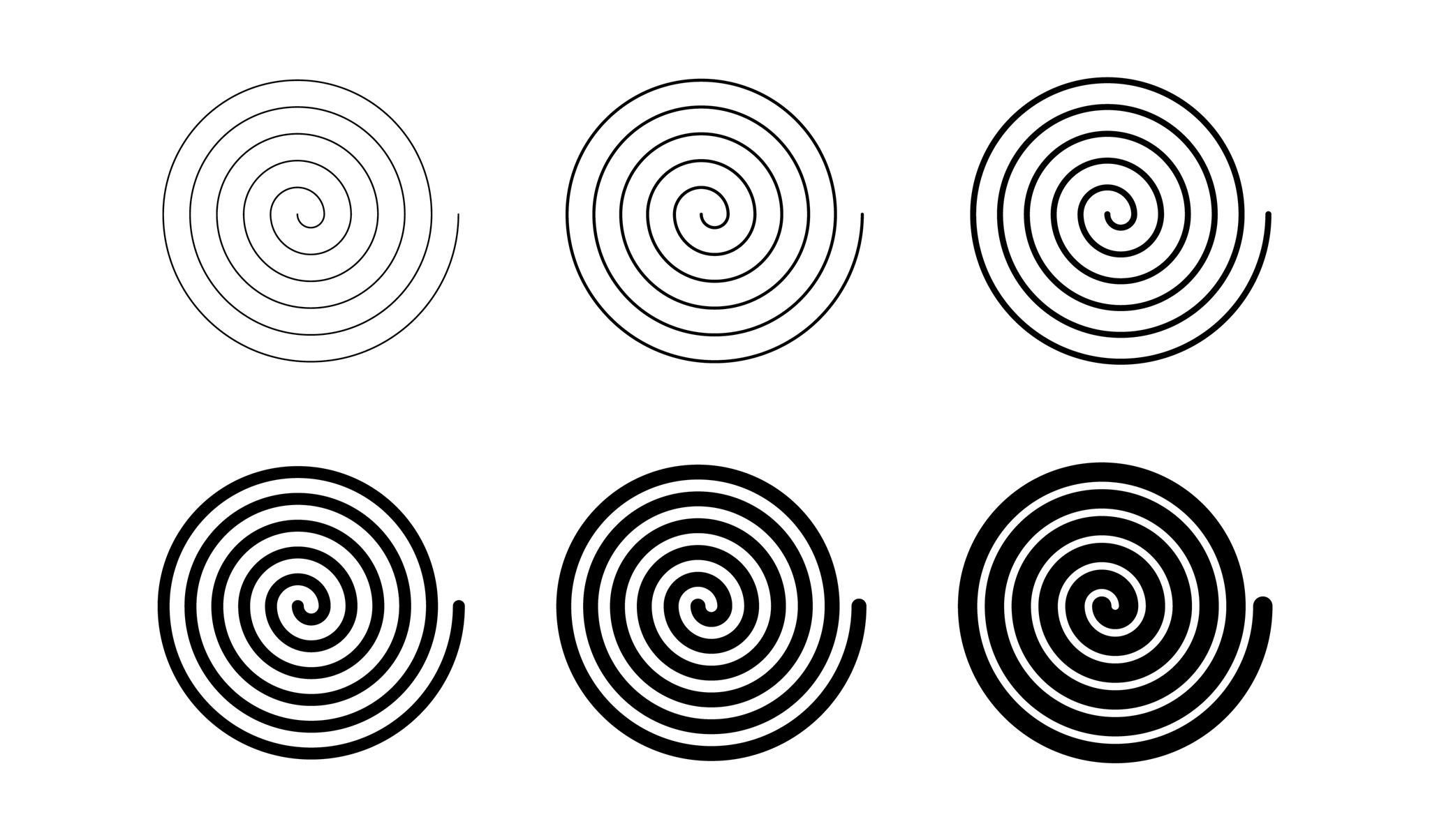 Conjunto de espirales delgadas a gruesas