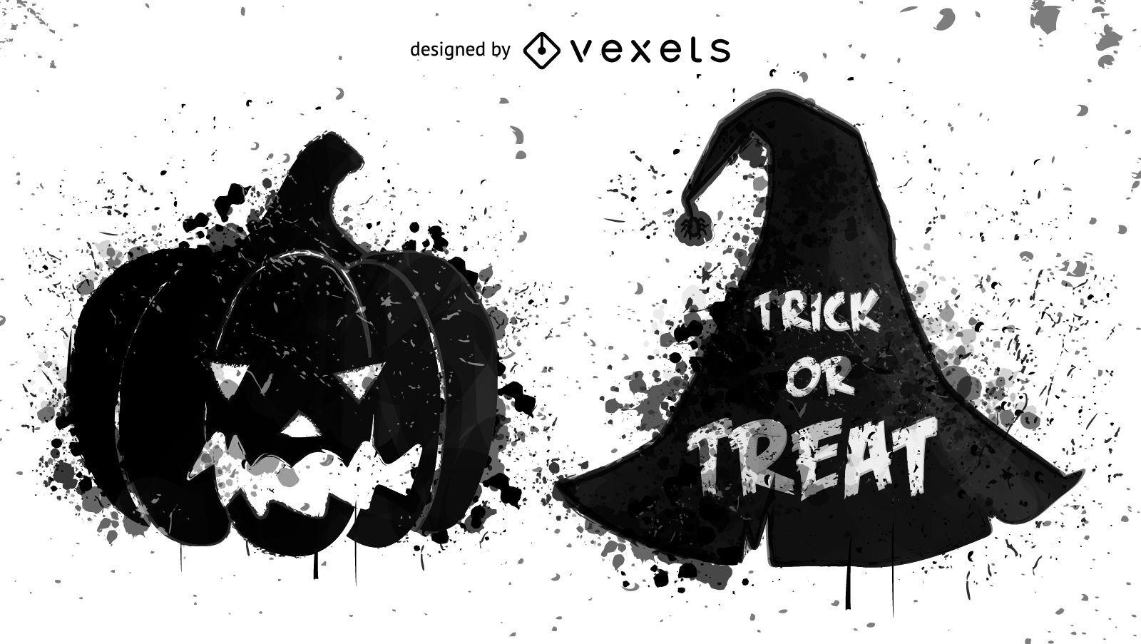 Grunge Halloween elements