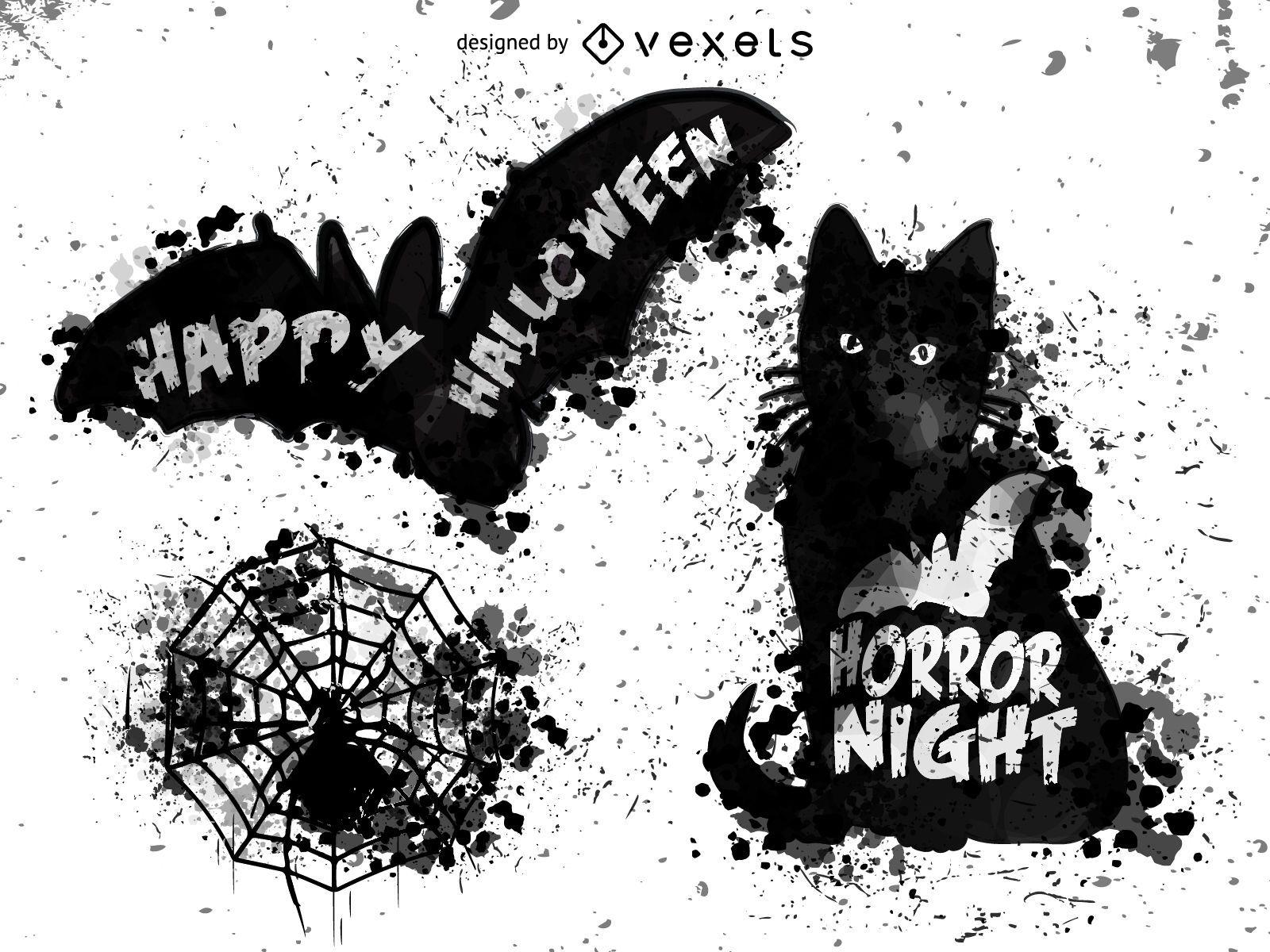 Elementos de Halloween splash negro