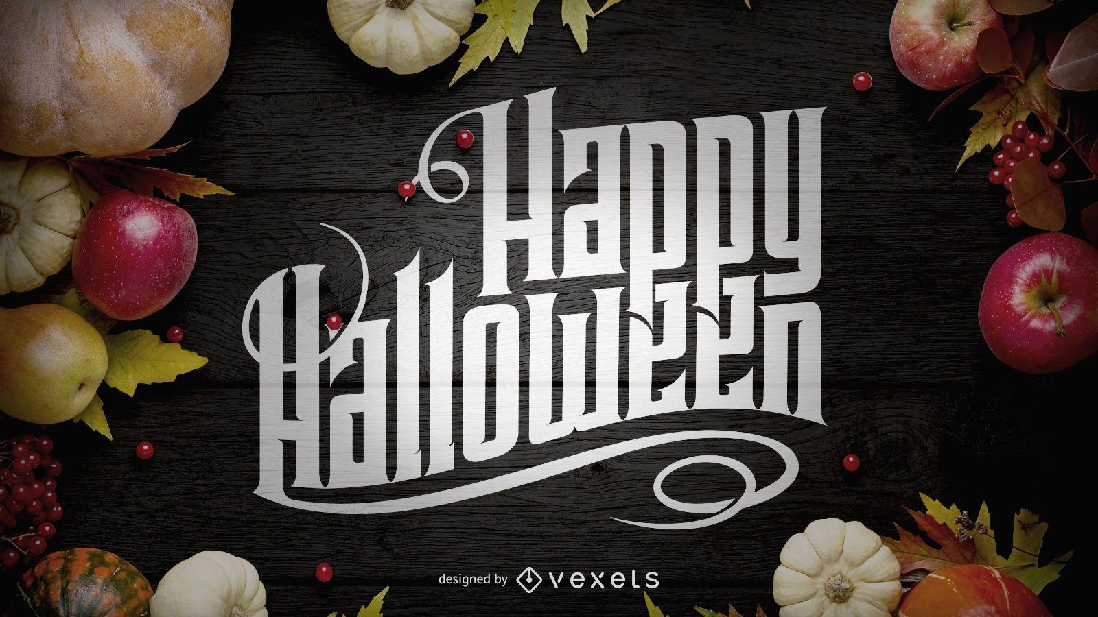 Feliz Dia das Bruxas com letras de texto