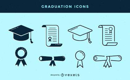 Set de iconos de graduación de trazo