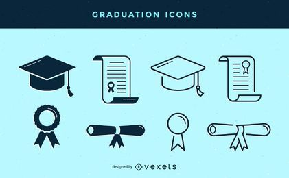 Stroke graduation icons set