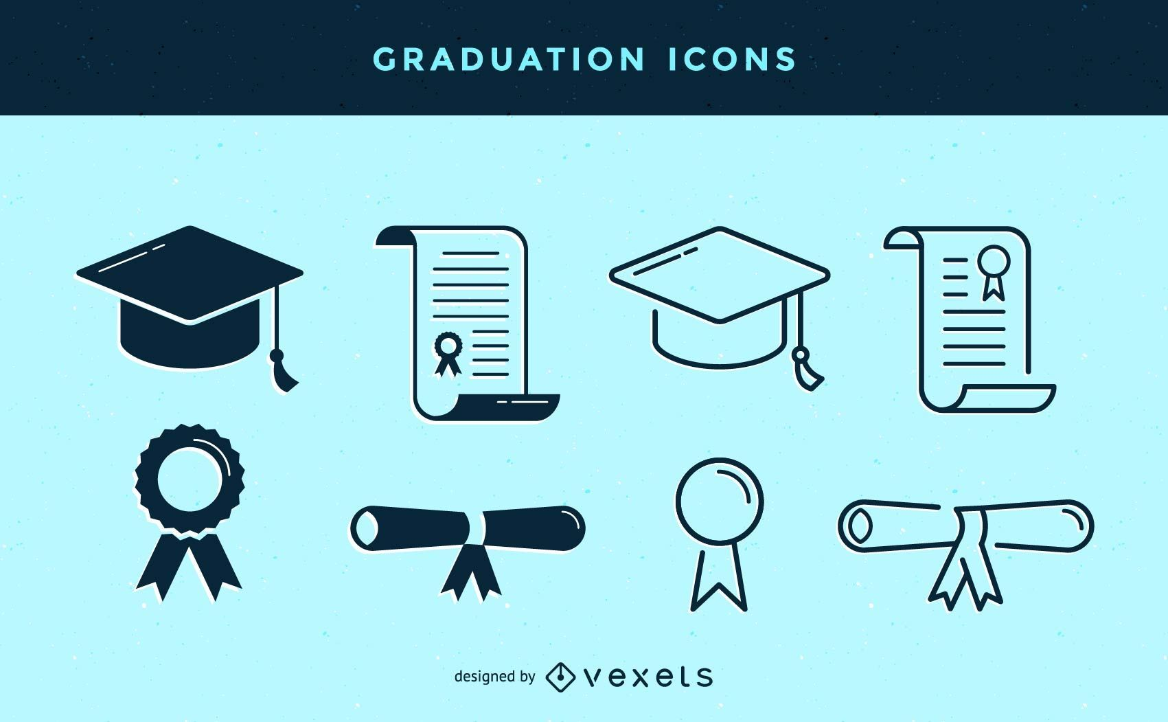 Stroke graduation icons set