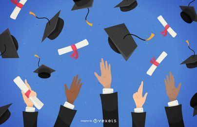 Graduados tirando sombreros ilustración
