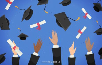 Graduates throwing hats illustration
