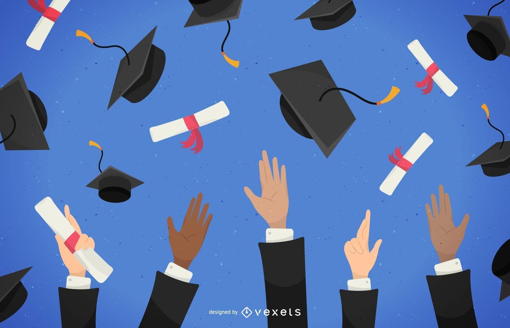 Graduados lanzando sombreros ilustración