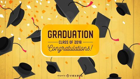 Graduation congratulations flat design
