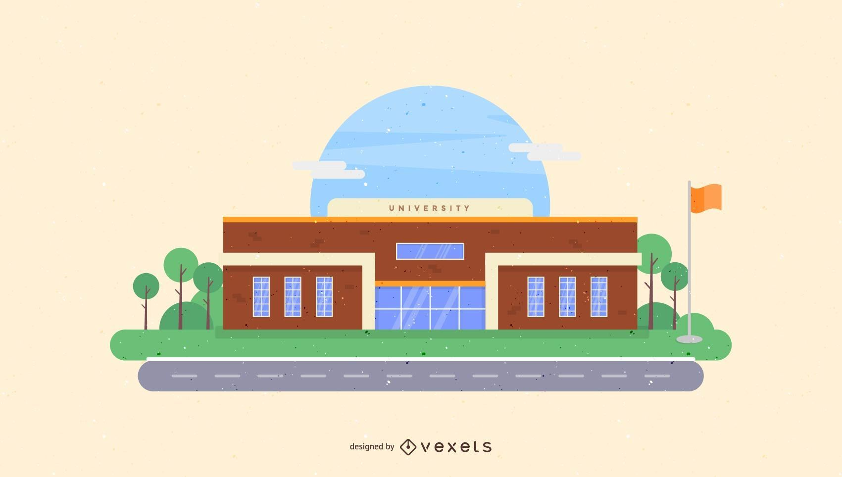 Ilustración del edificio de la universidad
