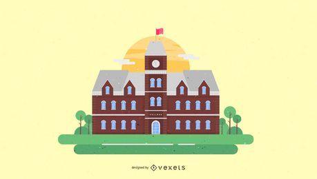 Antigas, faculdade, predios, ilustração
