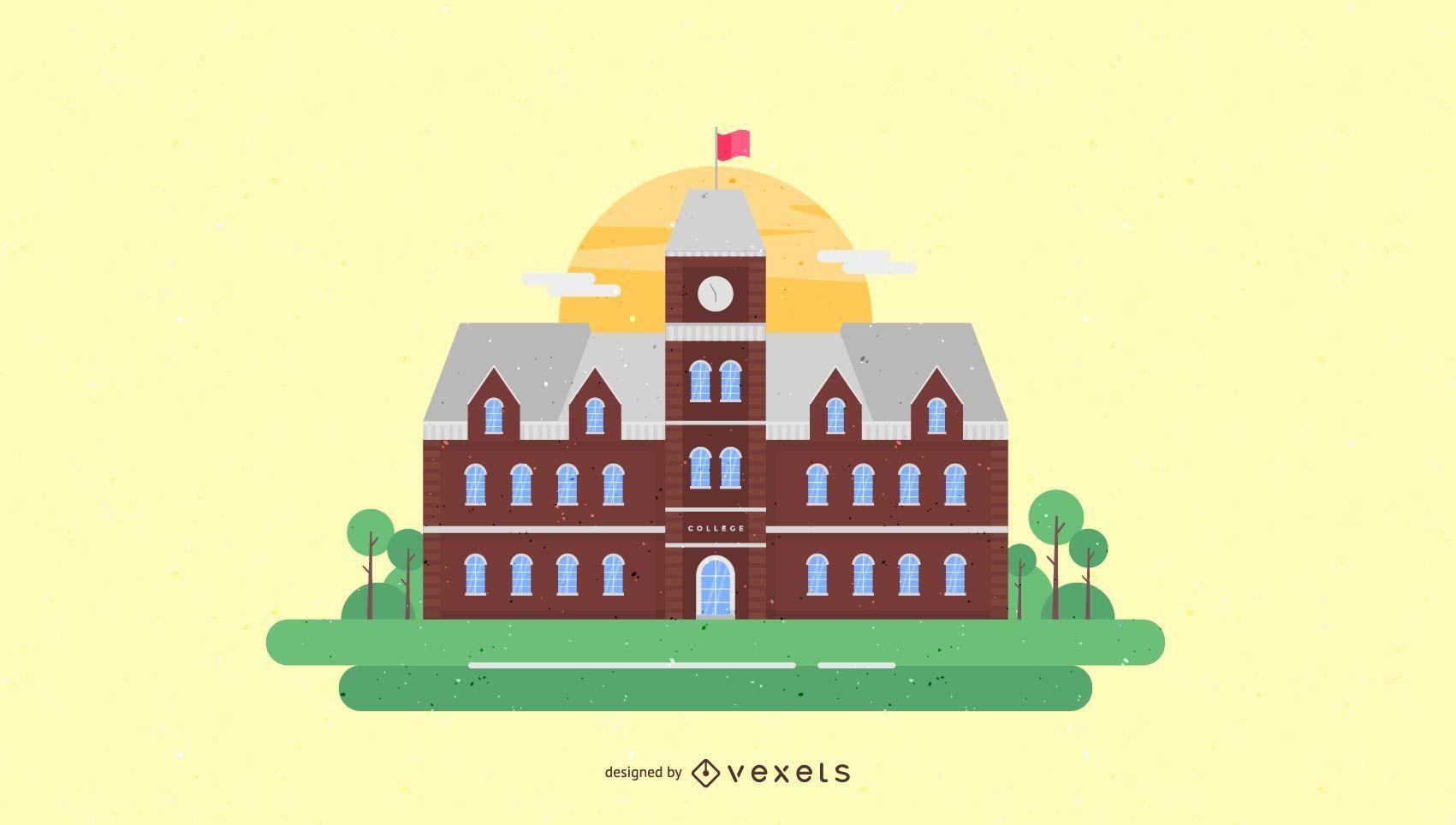 Ilustración de edificio de la vieja universidad