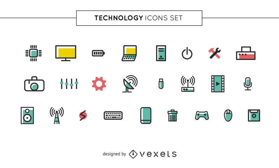 Conjunto de iconos de tecnología de trazo