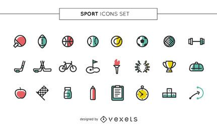 Stroke sport Colored icons set