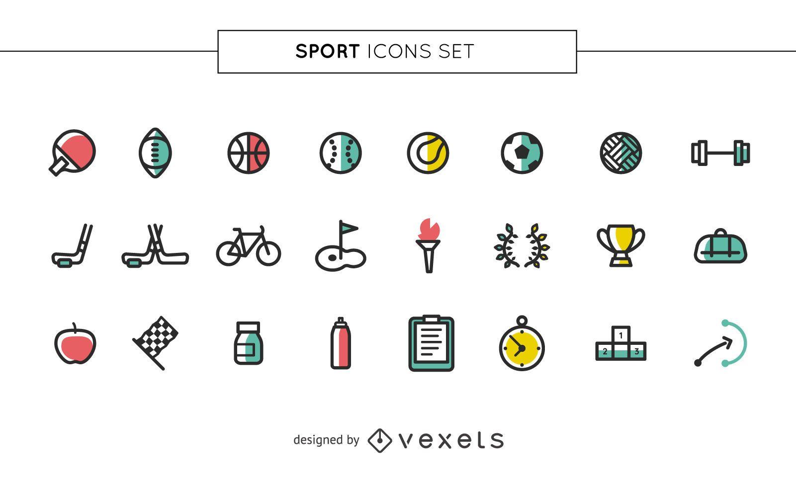 Conjunto de iconos de colores de deporte de trazo