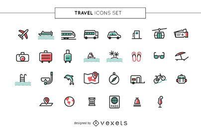 Conjunto de ícones de viagens de acidente vascular cerebral