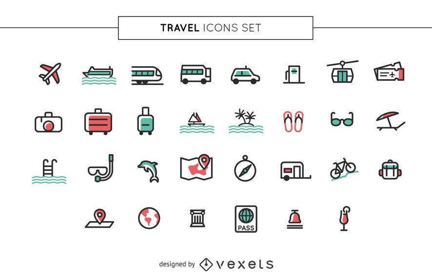 Conjunto de iconos de viaje de trazo