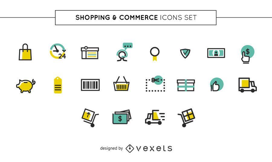 Conjunto de ícones de compras e comércio