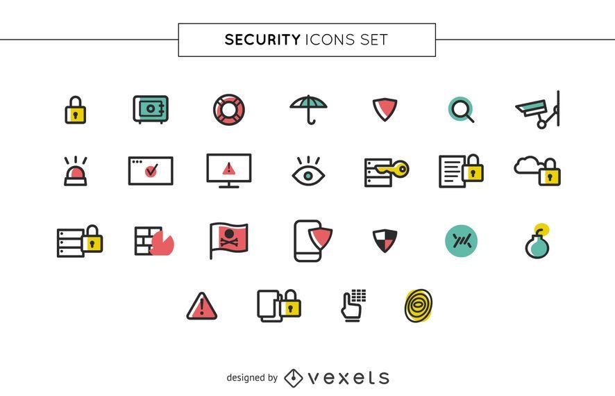 Conjunto de iconos de seguridad de trazo