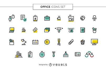 Conjunto de ícones de escritório de acidente vascular cerebral