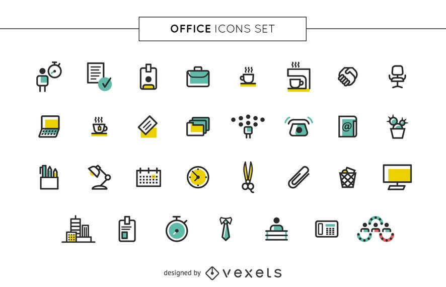 Stroke office icons set