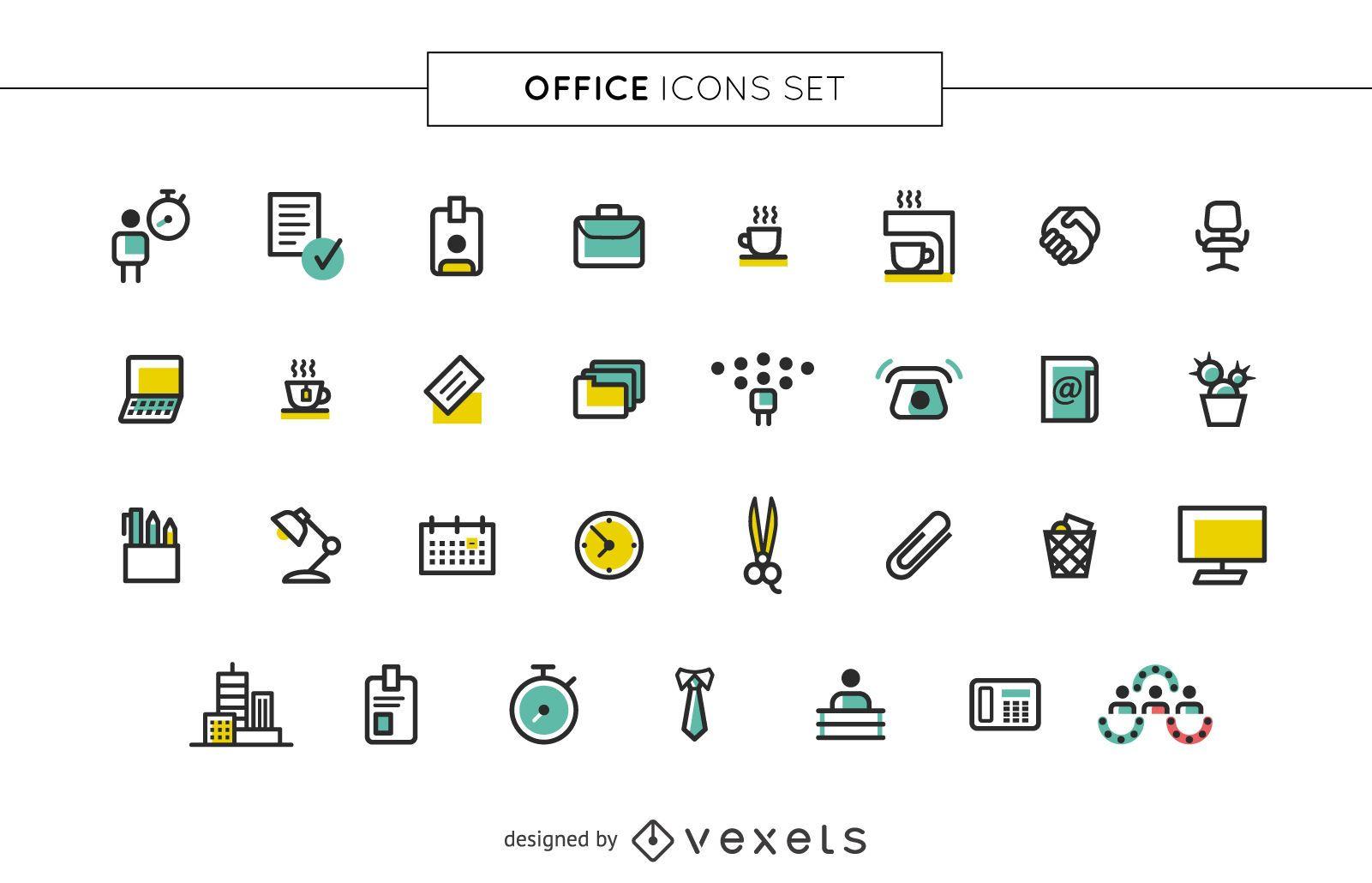 Conjunto de iconos de oficina de trazo