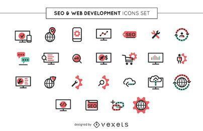 Conjunto de iconos web y SEO