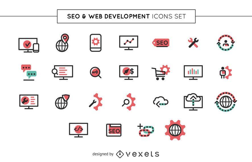 Conjunto de ícones SEO e web