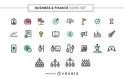 Conjunto de ícones de negócios e finanças