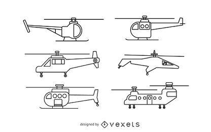 Conjunto de trazos de helicóptero