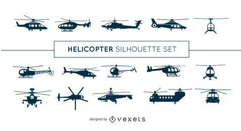 Conjunto de silhueta de helicóptero