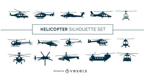 Conjunto de silueta de helicóptero