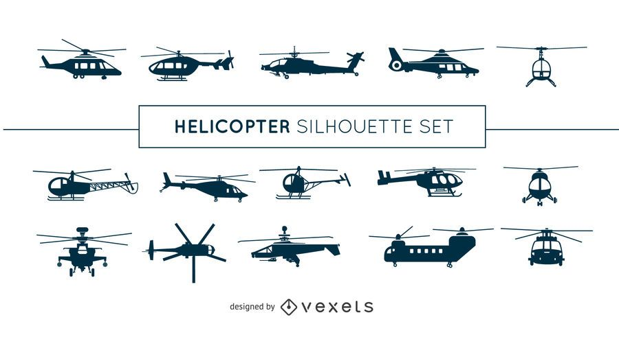 Helicopter silhouette set