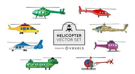 Conjunto de ilustración de helicóptero