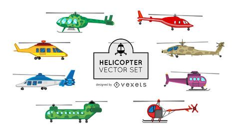 Helicopter illustration set