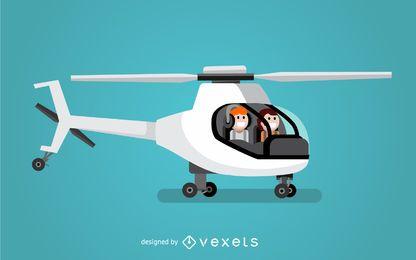 Ilustração de helicóptero de dois pilotos