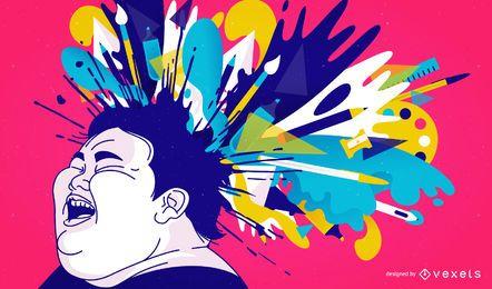 Ilustración de salpicadura de cabeza