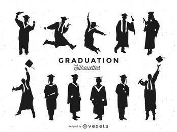 Conjunto de siluetas de graduación