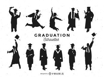 Graduation silhouettes set