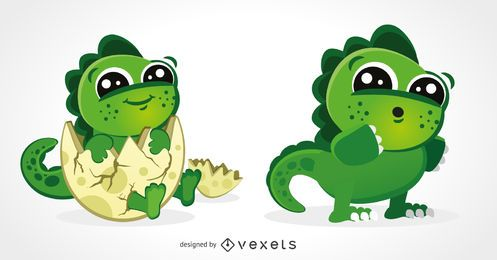 Ilustrações de dinossauro bebê fofo