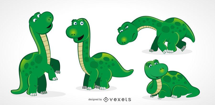 Lindo conjunto de dinosaurios adultos - Descargar vector
