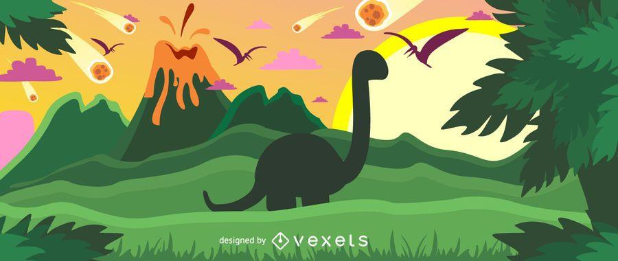 Ilustración de dinosaurio colorido